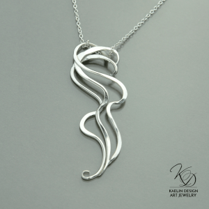 'Ripple' hand forged silver pendant by Kaelin Design