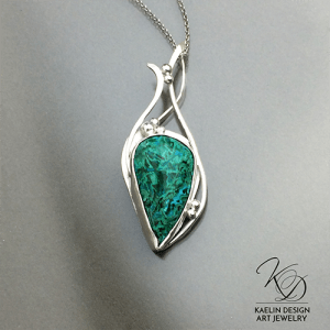 Sea Spray Art Jewelry Pendant with Chrysocolla in Sterling Silver by Kaelin Design