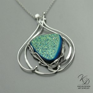 Ocean's Song Druzy Fine Art Pendant by Kaelin Design