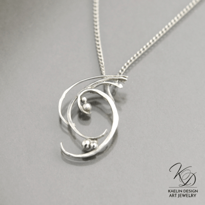 Wave Swept hand forged Silver Art Pendant by Kaelin Design