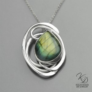 Eye of the Storm Labradorite Fine Art Designer Pendant by Kaelin Design