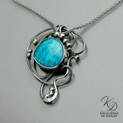 Ocean's Deep Gem Silica Fine Art Jewelry Pendant by Kaelin Design