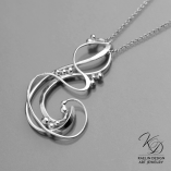 Wave Swept sterling silver art jewelry pendant by Kaelin Design