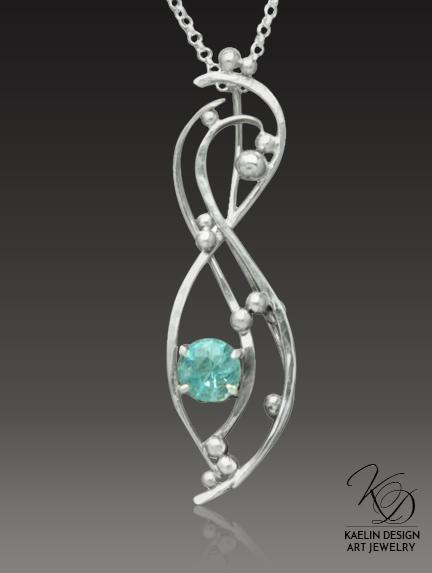 Effervescent Hand Forged Blue Topaz Fine Art Pendant by Kaelin Design