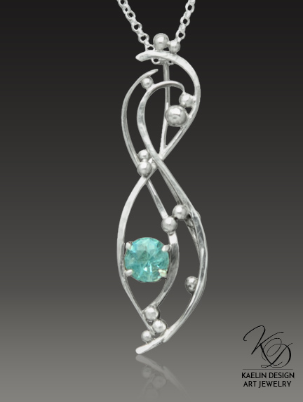 Effervescent Hand Forged Blue Topaz Fine Art Pendant by Kaelin Design