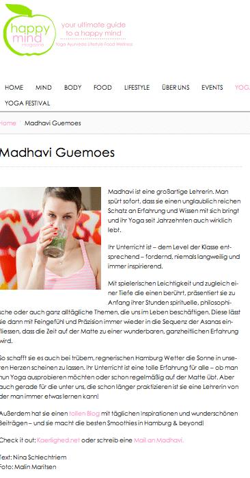 Madhavi Guemoes Happy Mind Magazine