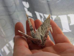 Grue Origami ; Élément de déco pour nouvel an