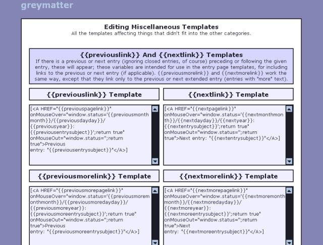 หน้าจอตั้งค่า Template ในส่วนของการทำ Link ไปยังบทความก่อนหน้าหรือถัดไปของ Greymatter จะเห็นว่ามันเป็น HTML กันเลยทีเดียว