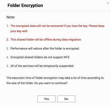 คำเตือนกรณีที่ทำ Encryption