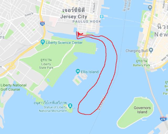 เส้นทางการเดินทางของเรือ คือ สั้นมากครับ ตามรูปประมาณนี้เลย