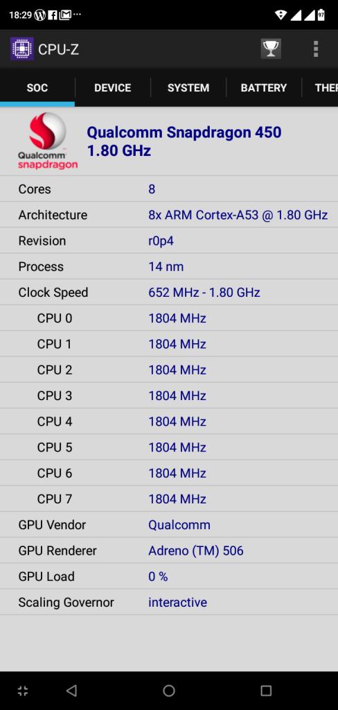 หน่วยประมวลผล Qualcomm Snapdragon 450 Cortex-A53 ความเร็ว 1.8GHz แบบ 8-core (แสดงข้อมูลด้วย CPU-Z)