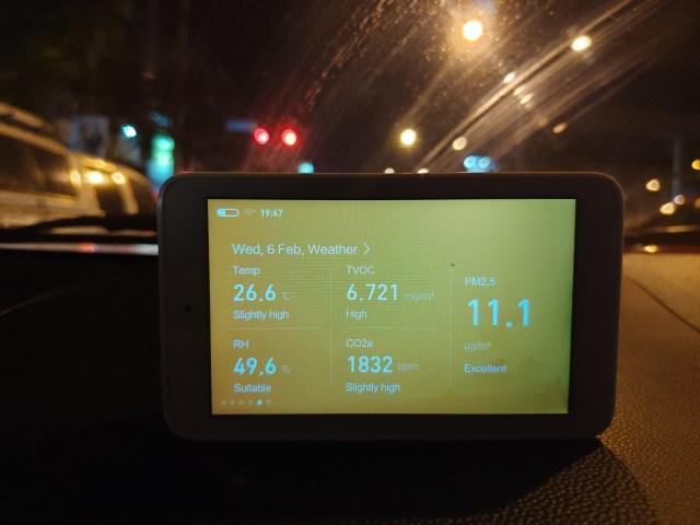 วัดค่าคุณภาพอากาศภายในรถยนต์ Mitsubishi Mirage ด้วยอุปกรณ์วัดของ Xiaomi