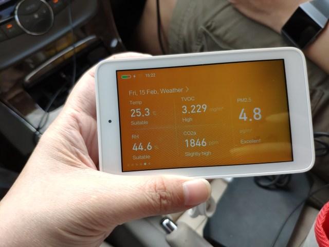 รถยนต์อะ พอขับไปซักพัก ค่า PM2.5 ไม่เยอะหรอก แต่ TVOC กับคาร์บอนไดออกไซด์นี่เพียบ