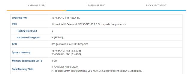 หน้าเว็บไซต์ของ QNAP ที่อธิบายสเปกของ NAS รุ่น TS-453A ว่าใช้แรม SODIMM DDR3L-1600