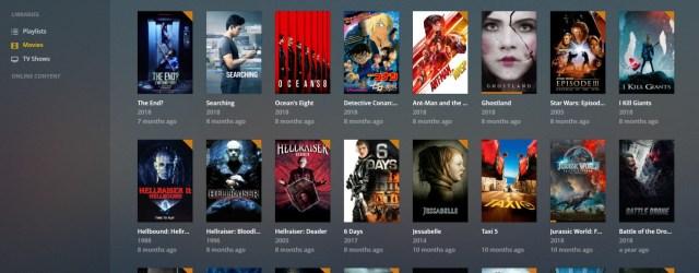 หน้าจอ Plex Media Server แสดงรายชื่อหนังที่สามารถเลือกดูได้