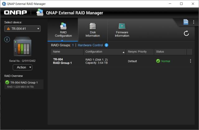 หน้าตาของโปรแกรม QNAP External RAID Manager