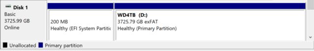 เรียบร้อย เราจะเห็นดิสก์เป็น exFAT บนหน้าจอ Disk Management