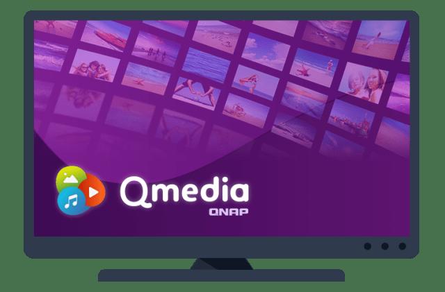 ภาพกราฟิกหน้าจอทีวี มีเขียนว่า Qmedia