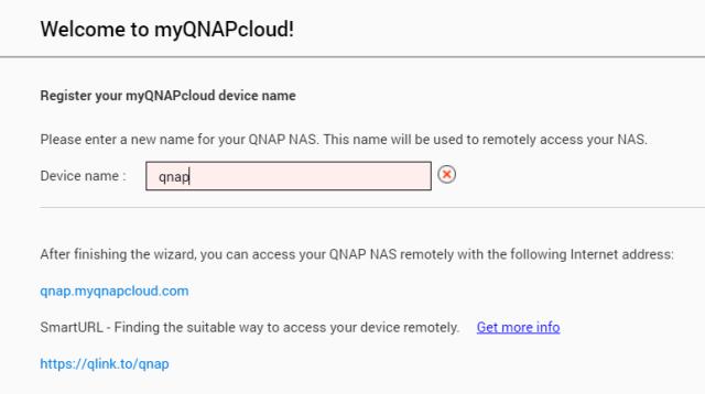 ตั้งชื่อ QNAP NAS ซึ่งจะเป็นตัวกำหนด URL