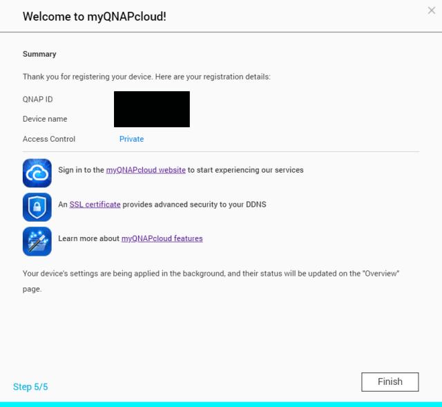 สรุปการติดตั้ง myQNAPcloud