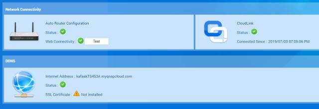 หน้าจอแสดงสถานะของบริการต่างๆ ของ myQNAPcloud
