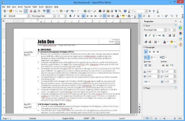 หน้าตาของโปรแกรม OpenOffice 4.1.6 ในส่วนของ Writer
