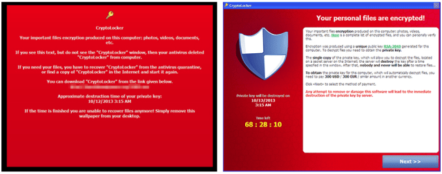 ตัวอย่างหน้าจอเตือนให้จ่ายค่าไถ่ของ Ransomware