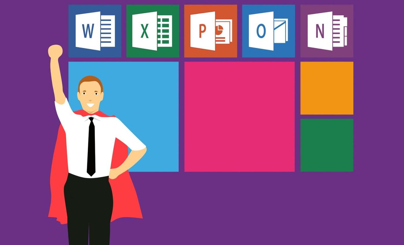 ภาพกราฟิกรูปพนักงานออฟฟิศชายใส่เสื้อเชิ้ตสีขาว กาวเกวดำ เน็คไทดำ สวมผ้าคลุมสีแดง กำลังชูมือขวาเหนือศีรษะ ด้านหลังเป็นหน้าจอ Start ของ Windows มีไอคอนแอป Microsoft เรียงอยู่