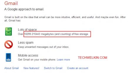ภาพของหน้าเว็บไซต์อธิบายบริการ Gmail ที่แสดงให้เห็นว่าเนื้อที่เก็บอีเมลจะมีขนาดเพิ่มขึ้นเรื่อยๆ