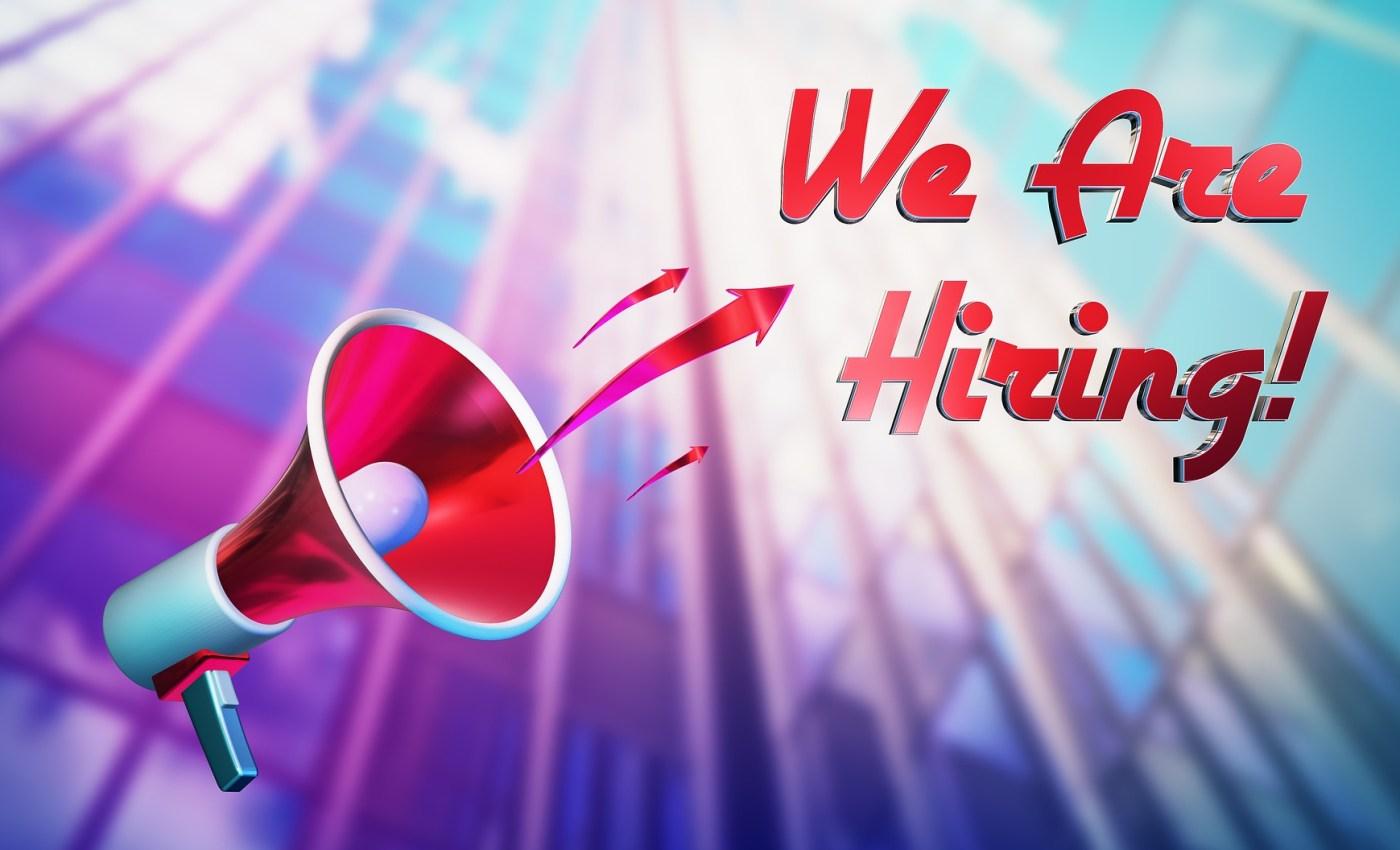 ภาพกราฟิกรูปโทรโข่งพร้อมข้อความว่า We Are Hiring!