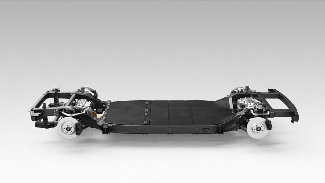 ภาพกราฟิกเรนเดอร์ของตัวโครงรถ ในการออกแบบที่เรียกว่าสเก็ตบอร์ด