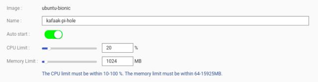 หน้าจอการติดตั้ง LXC กำหนด CPU Limit ไว้ที่ 20% และ Memory Limit ที่ 1024MB