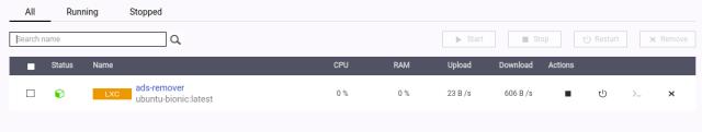 หน้าจอ Dashboard ของ ContainerStation แสดงตัว Linux Container ที่เราเพิ่งสร้าง