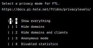 หน้าจอติดตั้ง Pi-hole เพื่อเลือก Privacy mode
