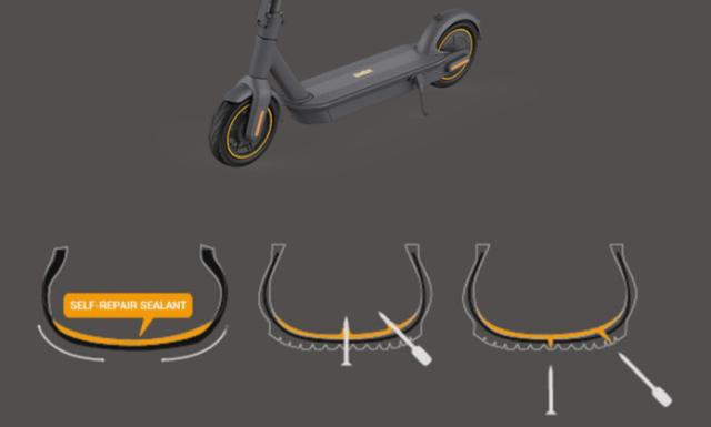 ภาพกราฟิกอธิบายระบบปะยางด้วยตนเองของ Ninebot Kickscooter MAX