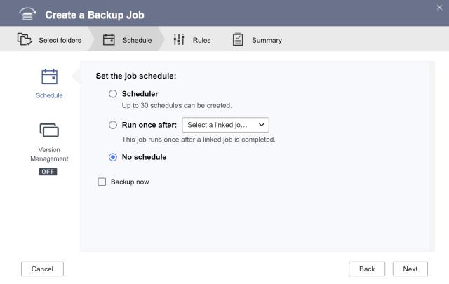 หน้าจอ Set the job schedule ของ HBS 3