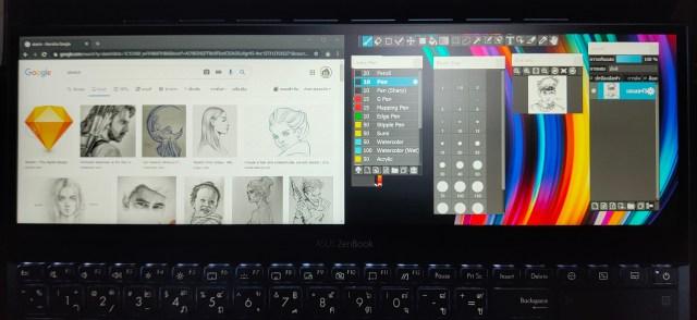 หน้าจอ ScreenPad+ ของโน้ตบุ๊ก ASUS ZenBook Pro Duo UX581
