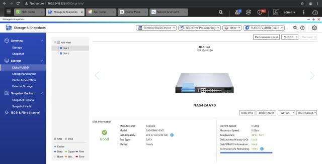 หน้าต่างแอป Storage & Snapshots บน QNAP QGD-1600P