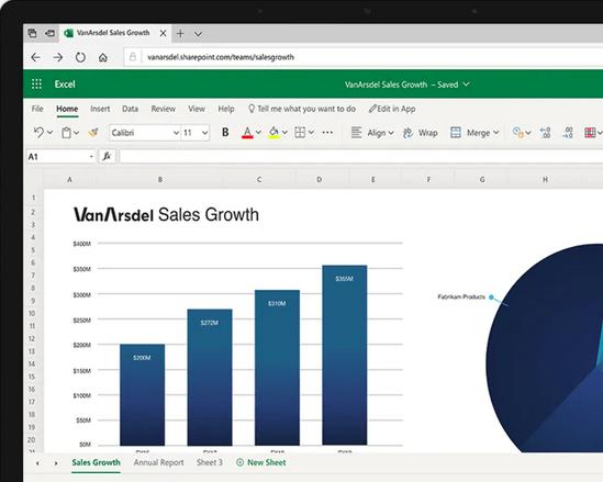 ตัวอย่างหน้าจอโปรแกรม Microsoft Excel Online