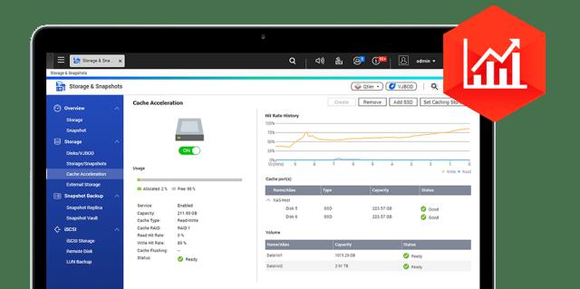 หน้าจอโปรแกรม Storage & Snapshots ของระบบปฏิบัติการ QTS ของ QNAP NAS