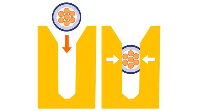 ภาพกราฟิกอธิบายการดีไซน์แบบ Insulation Displacement Connection