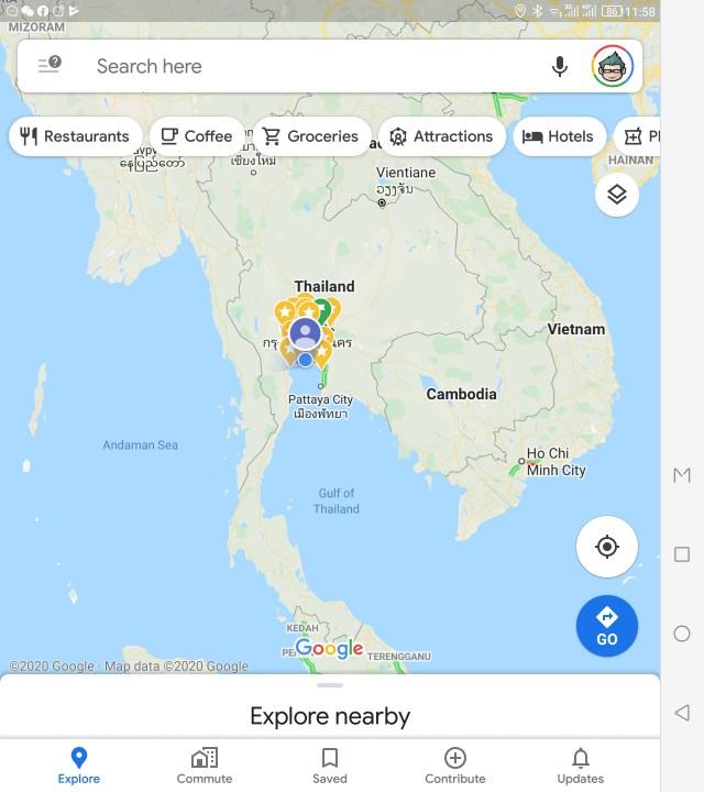 แอป Google Maps เมื่อแสดงผลบนหน้าจอที่กางออกมาแล้ว แต่แสดงผลแนวตั้ง