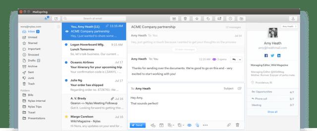 ส่วนหนึ่งของหน้าจอโปรแกรม Mailspring