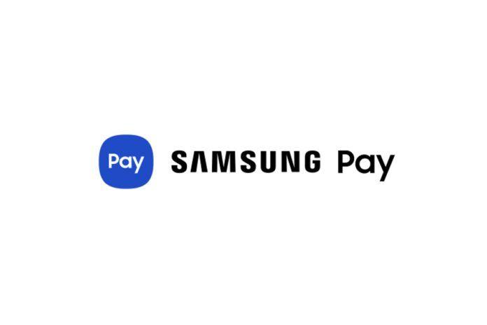 โลโก้ Samsung Pay บนพื้นหลังสีขาว