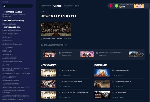หน้าจอรายชื่อเกมต่างๆ ที่ WeMod สนับสนุน