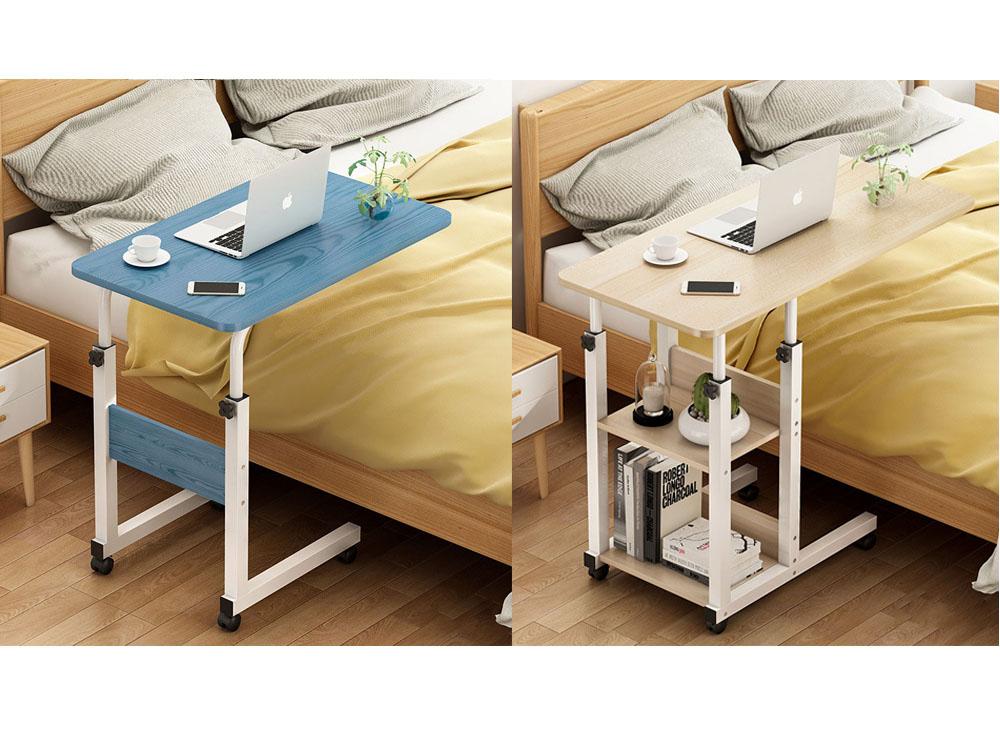 โต๊ะโน้ตบุ๊กข้างเตียงสองแบบ (ซ้าย) แบบไม่มีชั้นวางของ สีฟ้า (ขวา) แบบมีชั้นวางของ สีไม้