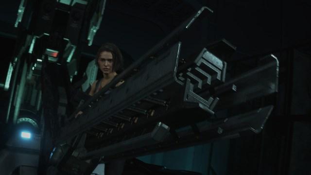 Jill Valentine กำลังถืออาวุธร้ายแรง (Railgun) สำหรับปราบ Nemesis ในเวอร์ชันของ Resident Evil 3: Remake