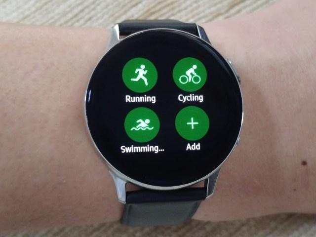 หน้าจอเลือกประเภทการออกกำลังกายบน Samsung Galaxy Watch Active 2