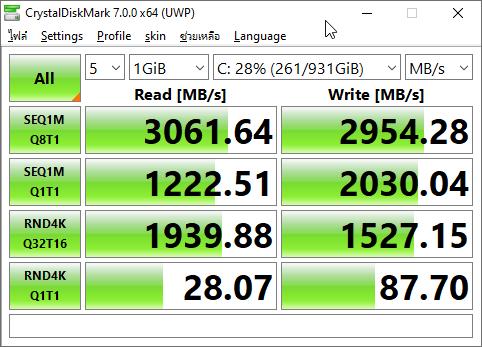 ผลการทดสอบความเร็วของ SSD NVMe M.2 ยี่ห้อ WD Black SN750 แสดงความเร็วในการอ่านที่ 3,061.64 MB/s และเขียน 2,954.28 MB/s