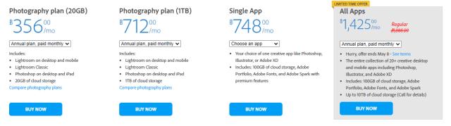 หน้าจอแสดงราคาแพ็กเกจต่างๆ ของ Adobe Creative Cloud